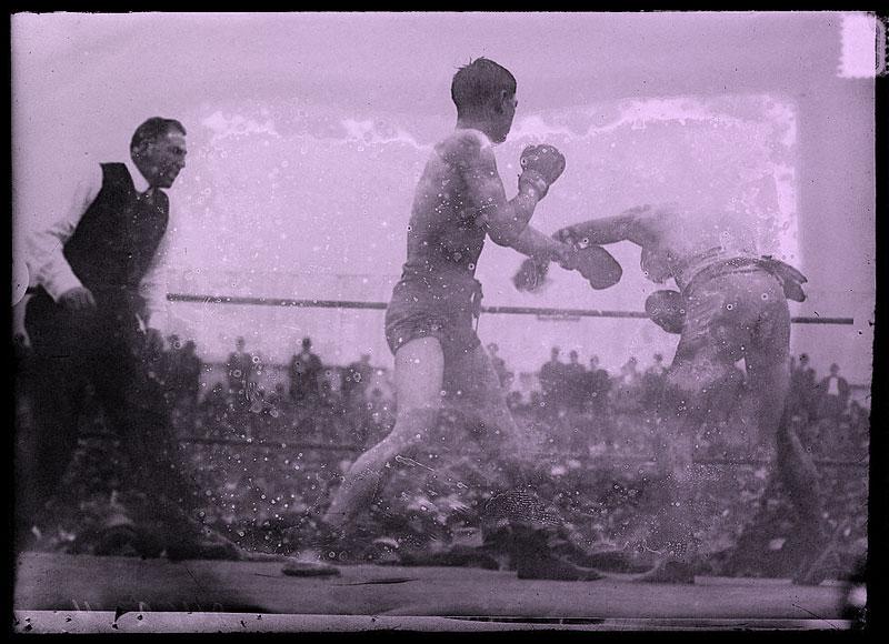 Un combat de boxe avec Adolph Wolgast, 1912.