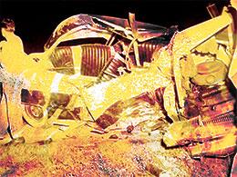 Une Buick accidentée en 1950.